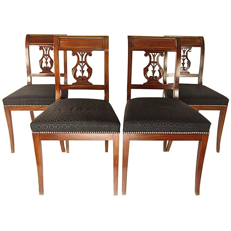Set of Four Directoire Mahogany Dining Room Chairs with Brass Banding