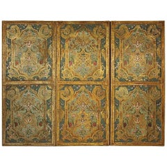 Early 18th Century Embossed and Polychrome Painted Leather Three-Leaf Screen