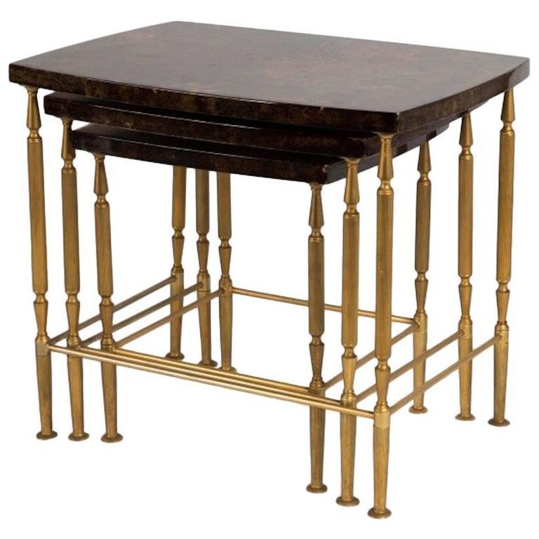 Rare Set of Aldo Tura Stacking Tables