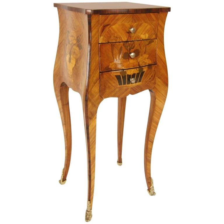 Louis XV Style Marquetry Side Table in the Manner of A. Gosselin, 1731–1794