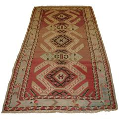 Old Caucasian Kilim with a Bold and Striking Design with Soft Faded Colors