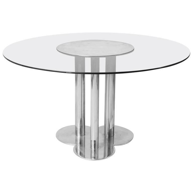 1970s, Cini Boeri Three-Leg Metal and Smoked Glass Circular Table