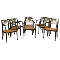 Refined Set of Eight English Regency Cane Seat Armchairs