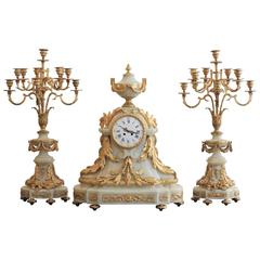Rare French Ormulu and White Onyx Thee-Piece Clock Garniture by Raingo Freres
