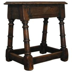Antique Early 19th Century English Oak Joint Stool