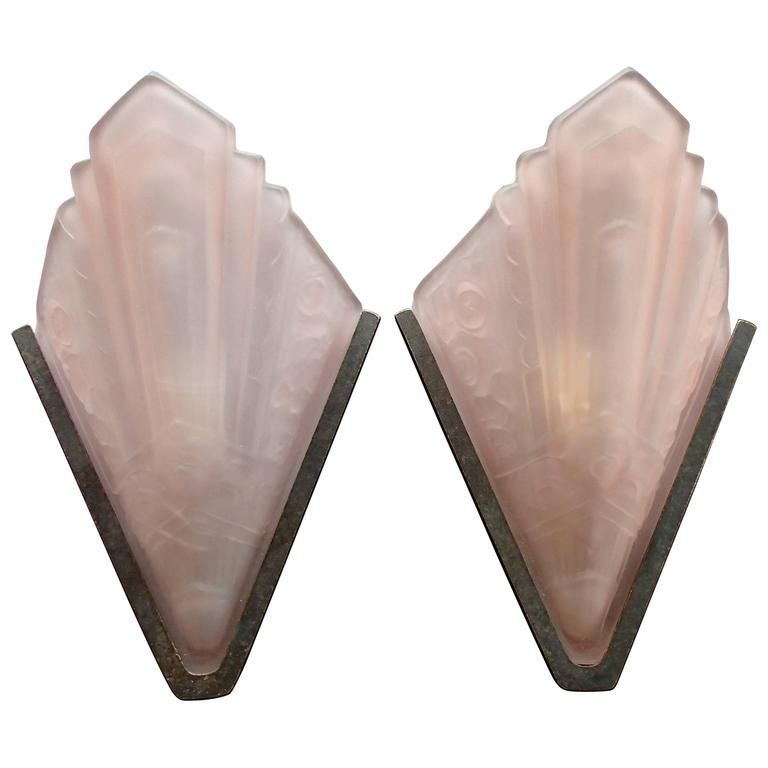 Patterned Glass Wall Lights : Pair Art Deco Wall Light Pink Frosted Decorative Glass at 1stdibs