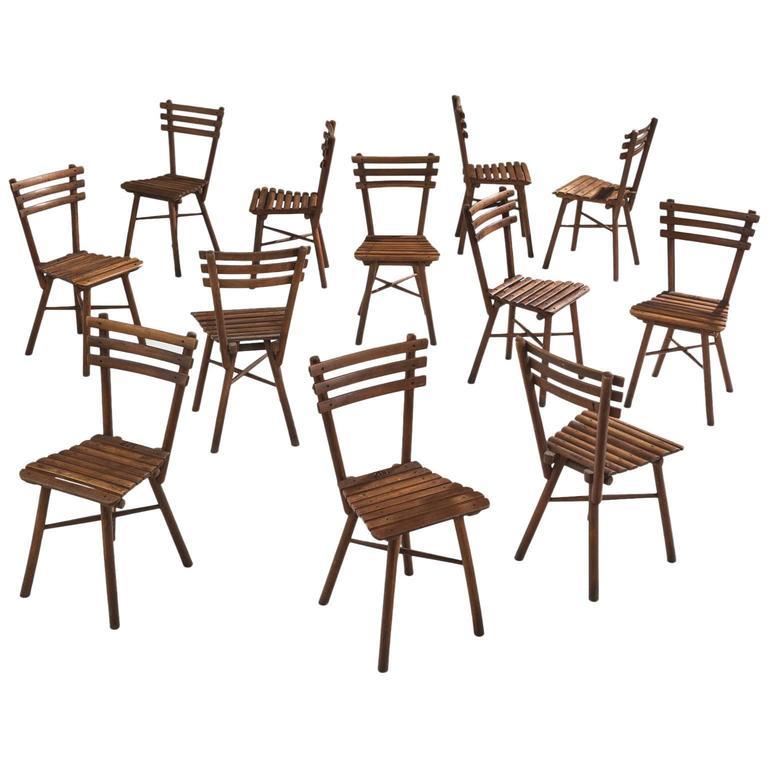 Set of Twelve Thonet Chairs in Beech