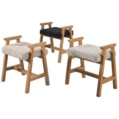 Guillerme et Chambron Set of Three Stools in Neutral Colors