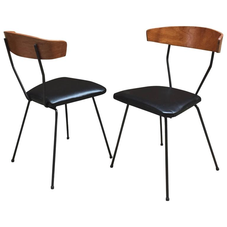 Pair of Iron and Walnut Chairs in the Manner of Clifford Pascoe For Sale