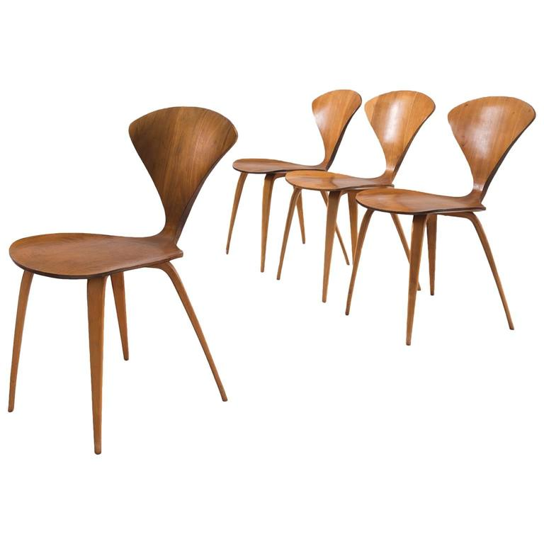 Norman Cherner Set of Four Dining Chairs in Walnut Plywood