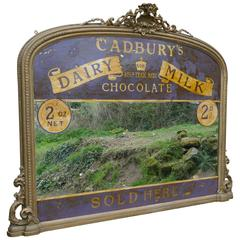 Large Victorian Advertising Mirror, Cadbury's Chocolate over Mantle