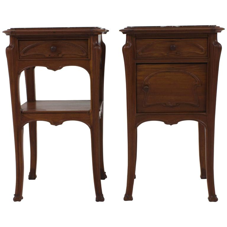 Stunning pair of french art nouveau nightstands or bedside for French nightstand bedside table