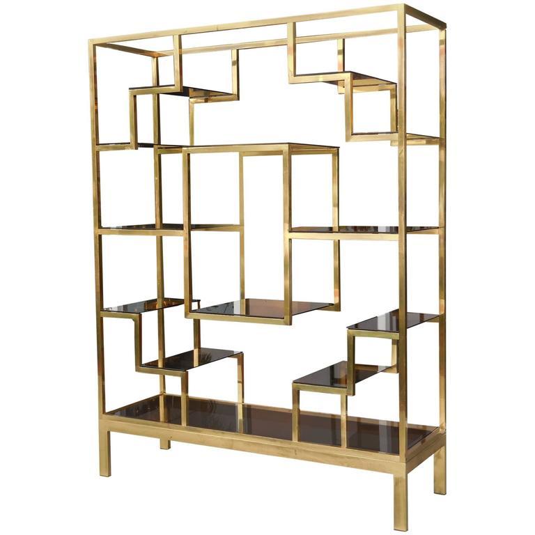Superb Brass Italian Etagere Room Divider By Romeo Rega 1970S At Interior Design Ideas Tzicisoteloinfo