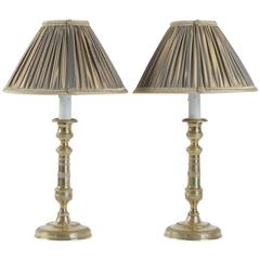 Pair of French, Louis XVI Period Gilt Bronze Candlestick Lamps, circa 1780