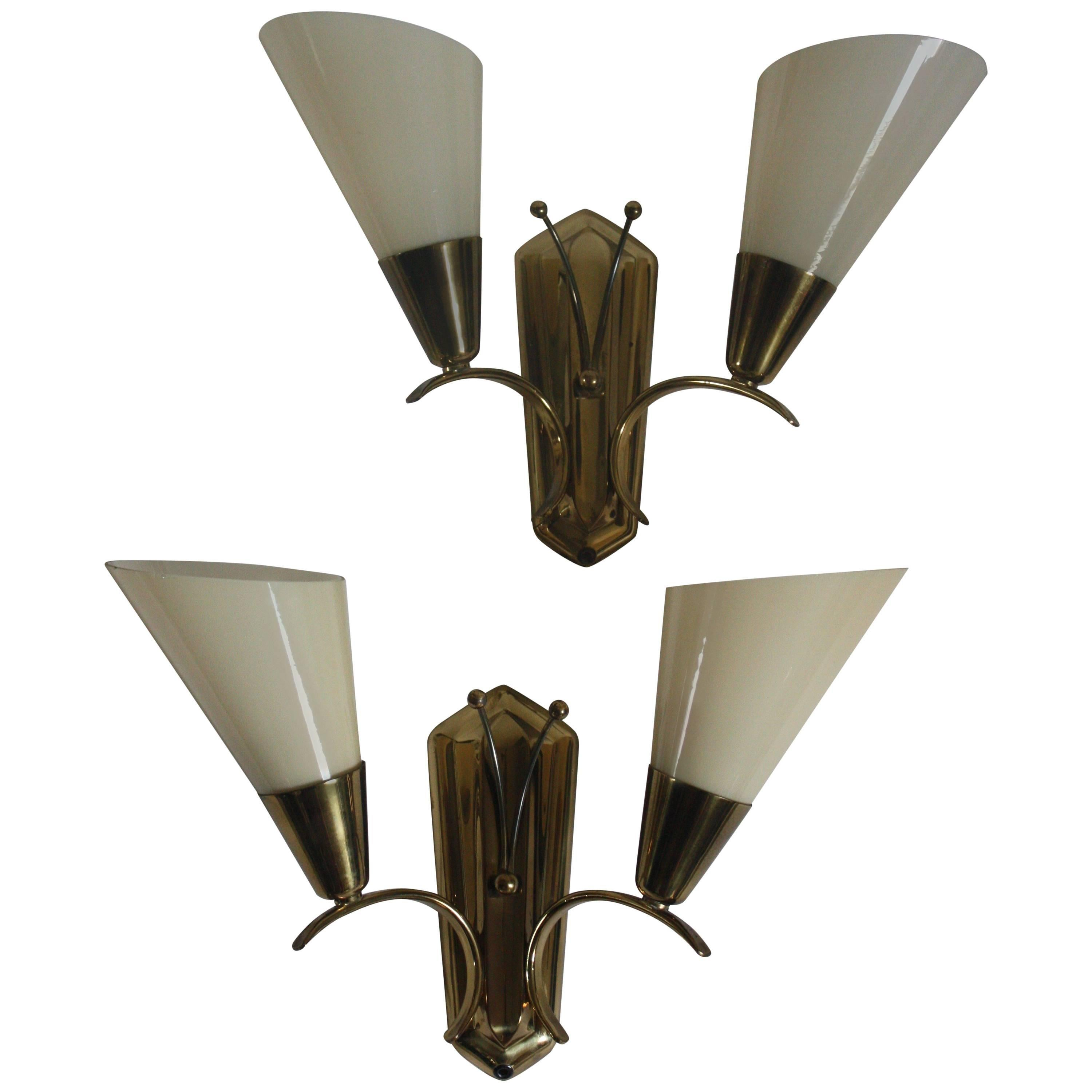 Pair of Wall Sconces in the Style of  Paavo Tynell, circa 1950s