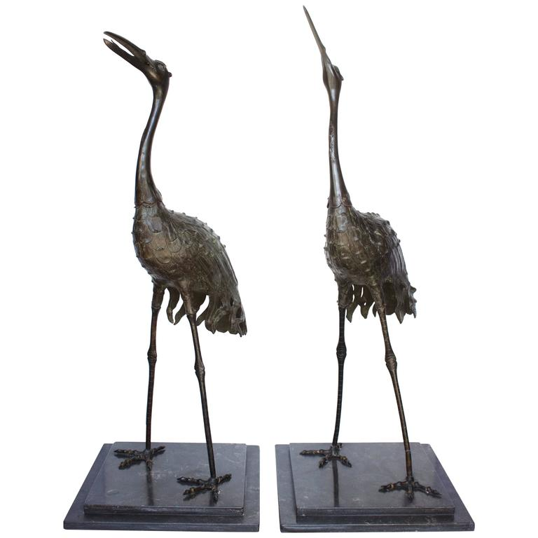 "Pair of Japanese Meiji Period Bronze ""Red Crowned"" Cranes For Sale"