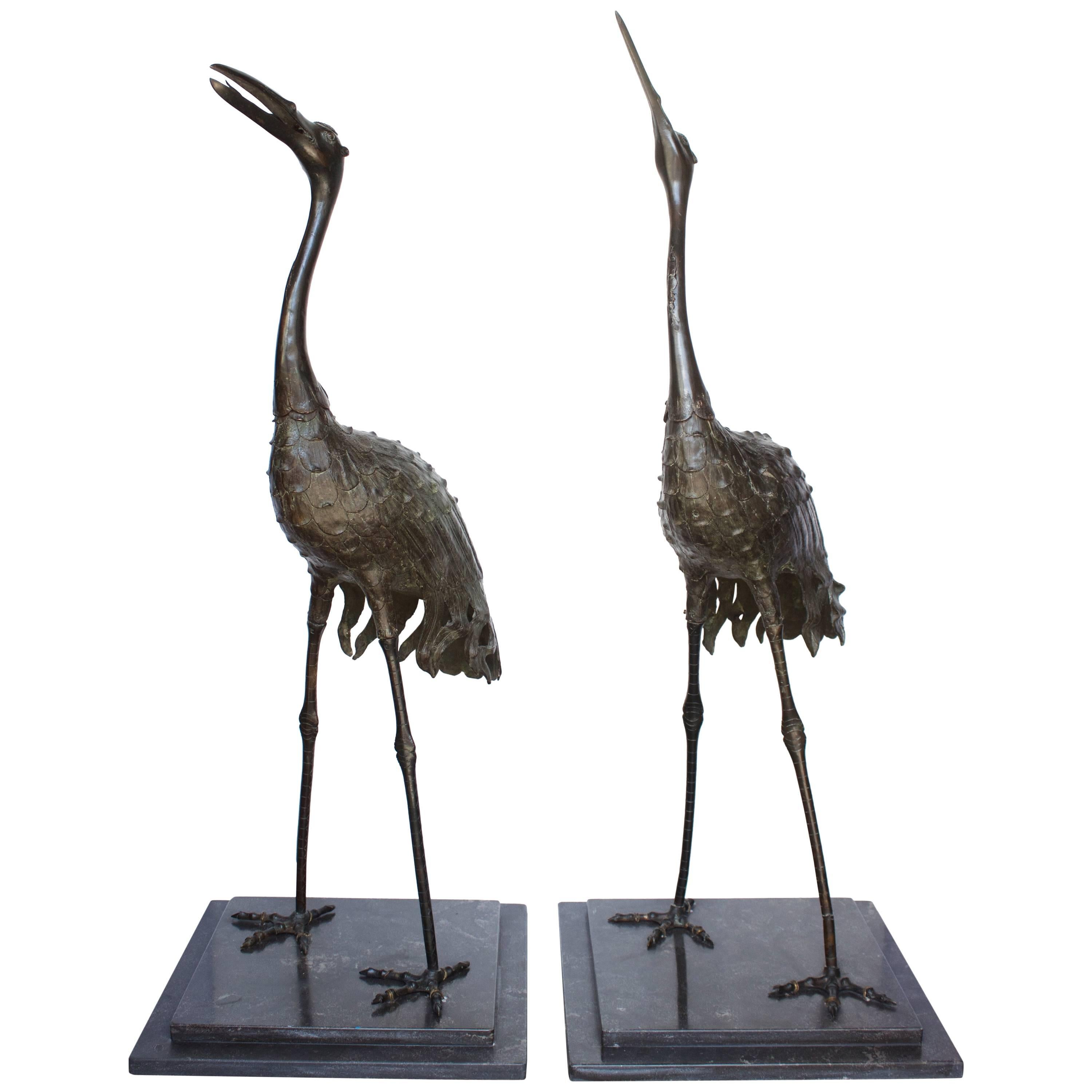 """Pair of Japanese Meiji Period Bronze """"Red Crowned"""" Cranes"""