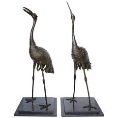 "Pair of Japanese Meiji Period Bronze ""Red Crowned"" Cranes"
