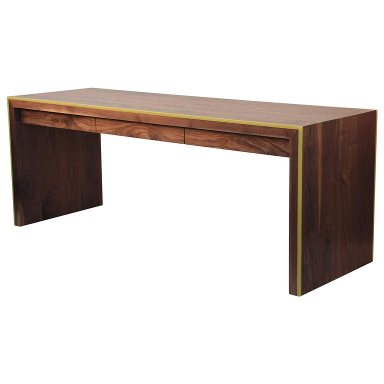 Monster Island Three-Drawer Waterfall-Style Desk in Walnut, Inlaid Yellow Resin