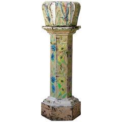 Polychromed Repoussé Copper Pedestal and Planter, France, 19th Century