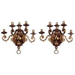19th Century Louis XIV Style Bronze Pair of Wall Lights