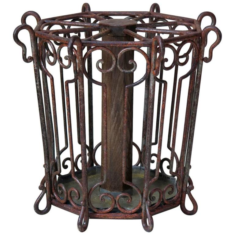 Large Wrought Iron Umbrella Stand France Late 19th Century For