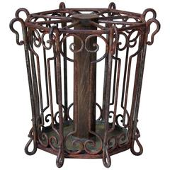 Large Wrought Iron Umbrella Stand, France, Late 19th Century