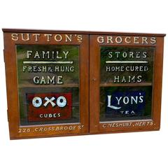 Victorian Sign Painted Grocers Cupboard, Farm Shop Country Store