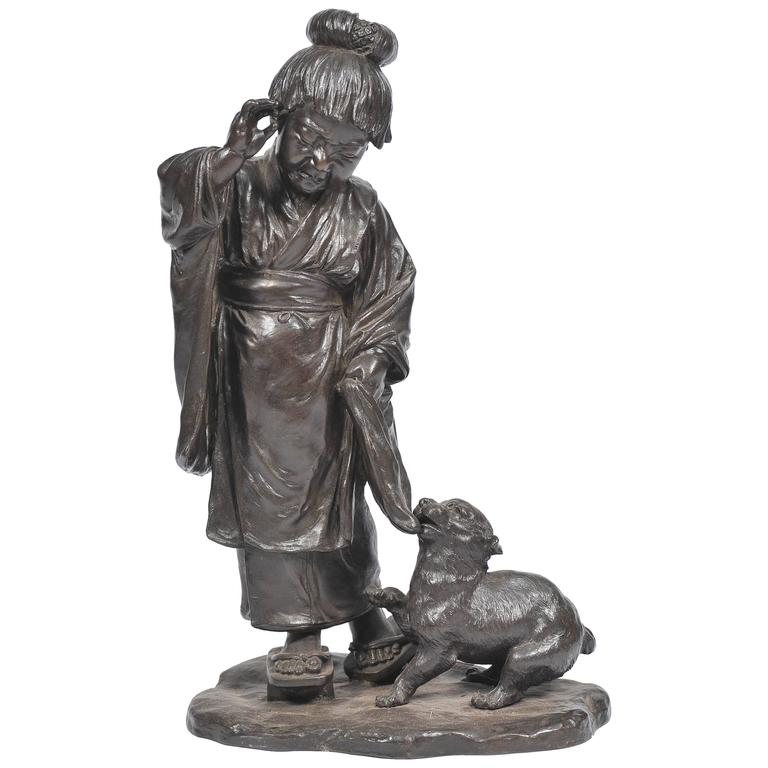 Large Japanese Bronze of Young Girl and a Dog