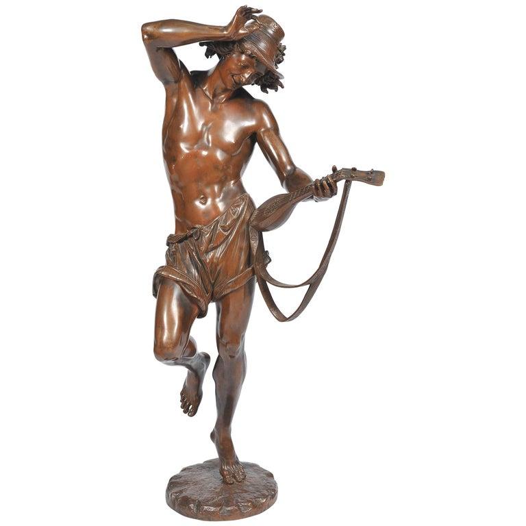 Large 19th Century Bronze  Mandolin Player For Sale