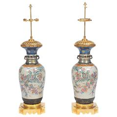 Large Pair of 19th Century Chinese Crackleware Vases or Lamps