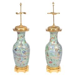 Pair of Celadon Famille Rose Vases / Lamps