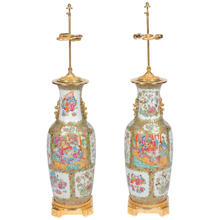 Pair of 19th Century Rose Medallion, Canton Vases or Lamps For Sale