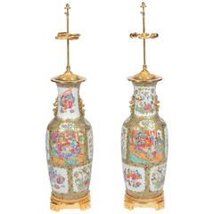 Pair of 19th Century Rose Medallion, Canton Vases or Lamps