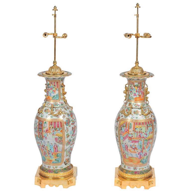 Large Pair of Antique Rose Medallion / Cantonese Vases / Lamps For Sale