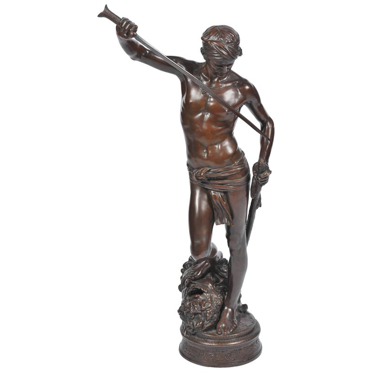 Bronze David and Goliath by A. Mercie For Sale