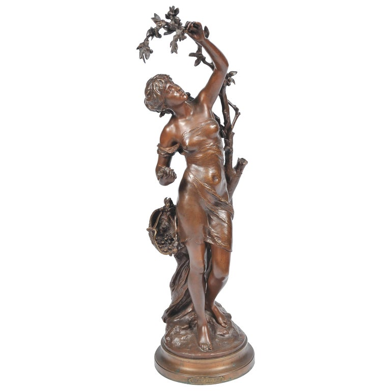 Bronze by Math, Moreau, Girl Picking Cherries For Sale