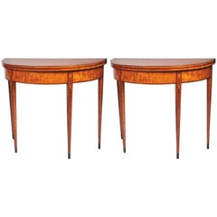 Pair of 18th Century Satinwood Card Tables