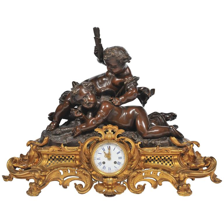 Large French Mantel Clock by Japy Freres