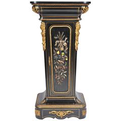 19th Century Pedestal with Petra Dura Inlay