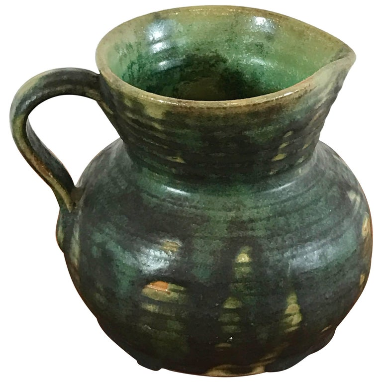 Ceramic Green Drip Glaze Small Pitcher by Fulper Pottery For Sale