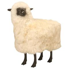 Lalanne Inspired Lifesize Bronze Sheep, in Real Fur with its Head Canted Left