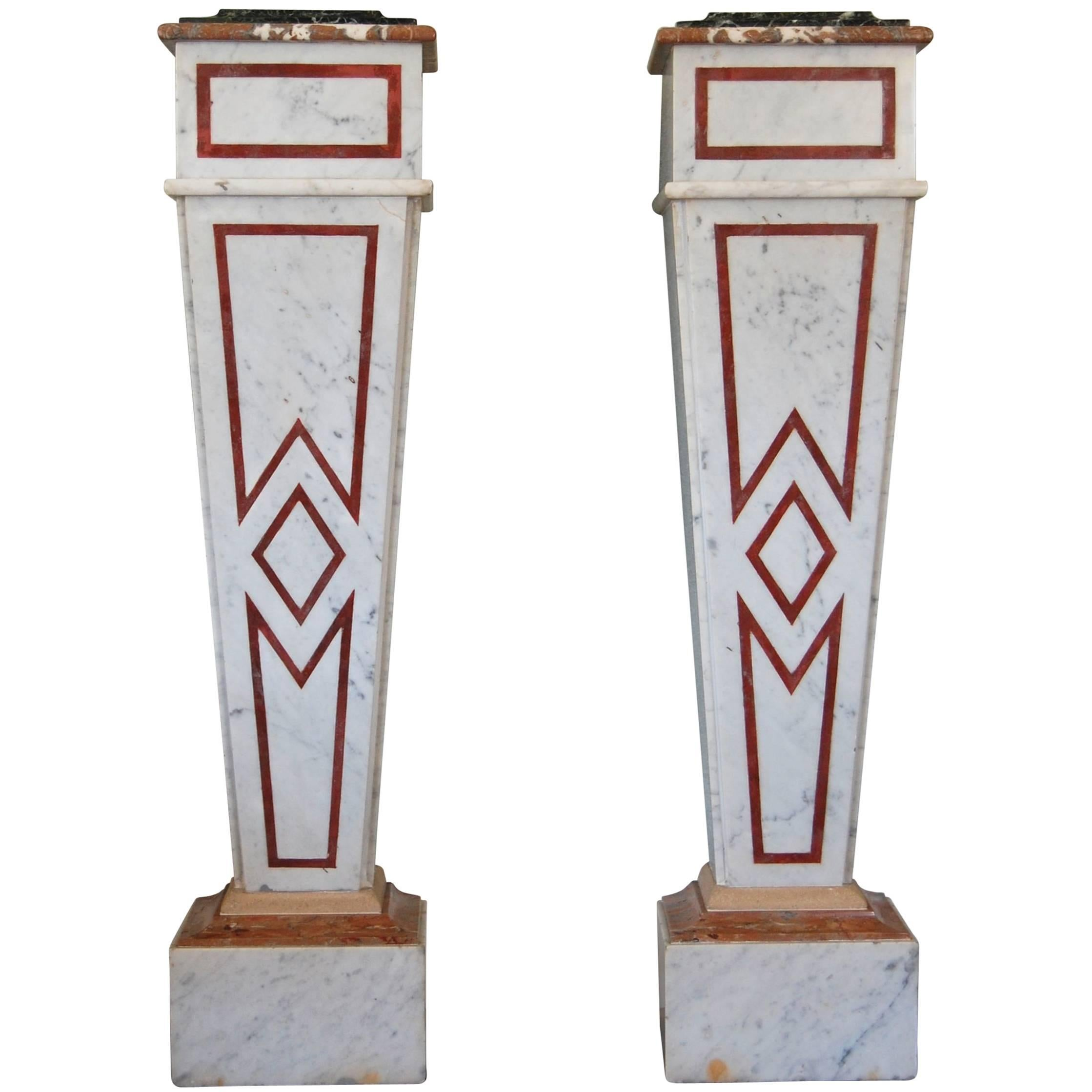 Pair of Italian Neoclassical Marble Pedestals, Late 19th Century