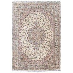 Hand-Knotted Wool and Silk Rug