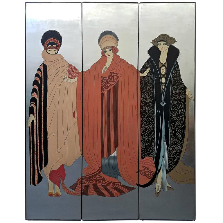 Erte Style Art Deco Silver Leaf Three Panel Screen Art Room Divider