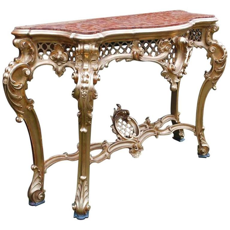 Large 19th Century Gold Gilded Rococo Console Table With Marble Top 1