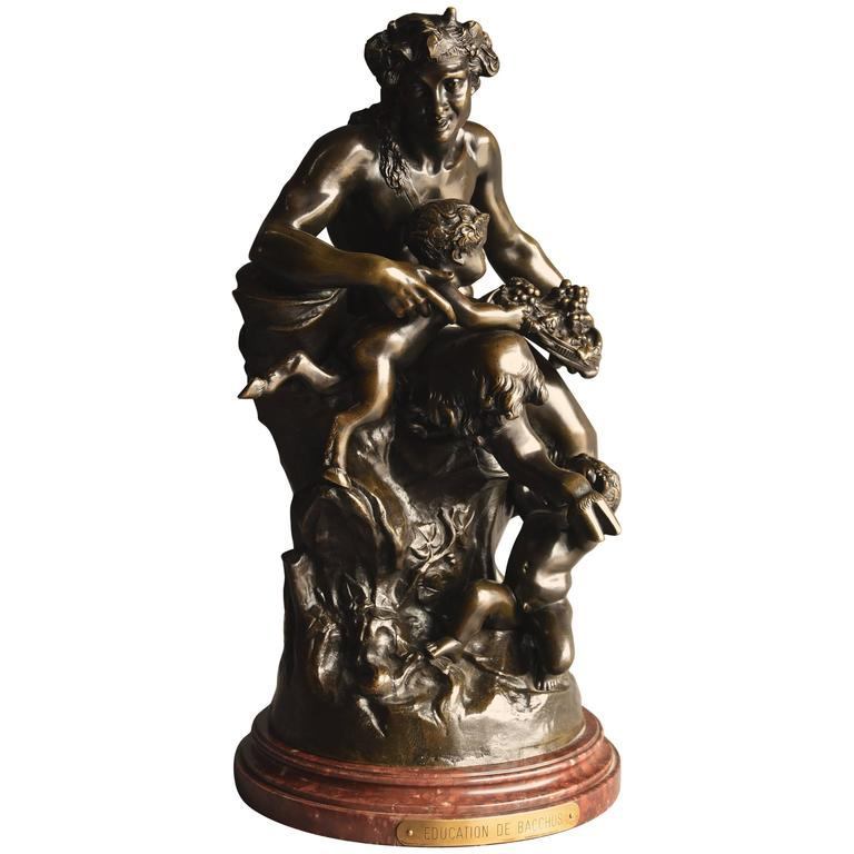 Large Mid-19th Century, French Bronze Group of a Satyr and Two Fauns
