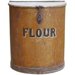 Large Victorian Painted Metal Flour Bin