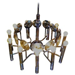 Space Age Chrome and Fourteen Light Chandelier by Reggiani, Italy ca 1970