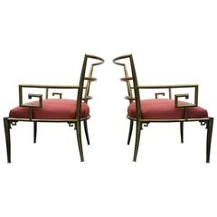 Pair of Solid Brass Mid-Century Italian Greek Key Arm Side Chairs